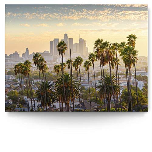 BilderKing Intensiv & Impostant 200x150cm großes Leinwand-Bild. Skyline LA, Palmen als Wandbild auf 4cm tiefen Keilrahmen. Eindrucksvoller können Sie Ihren Raum Nicht in Szene setzen