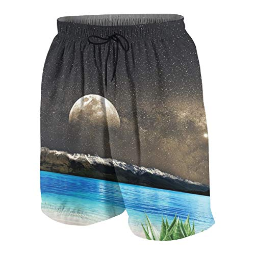 Boys Teens Beach Shorts Swim Trunks Aloe Vera Moon Beach-1 Quick Dry Waterproof Surfing Beach Shorts with Mesh Lining