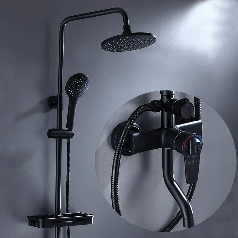 Dusche Set Kupfer Dusche Badezimmer Duschkopf Schwarz Dusche Abs RunddüSe Konstante Temperatur