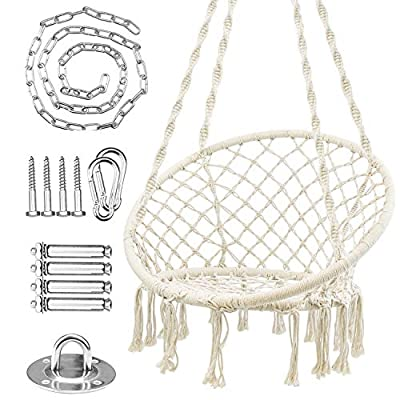 Amazon - Save 20%: WBHome Hammock Chair Swing w/Hardware Kit, Cotton Rope Hanging Macr…