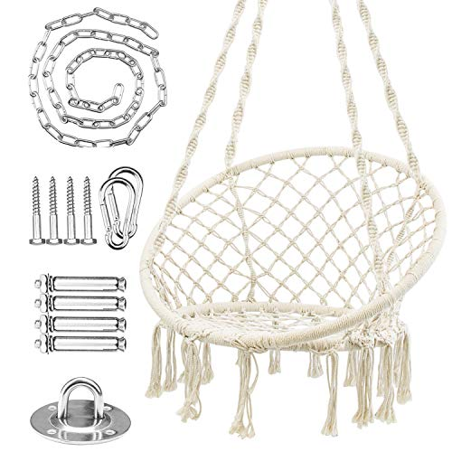 WBHome Hammock Chair Macrame Swing with Hanging Hardware Kit, Handmade Knitted Cotton Rope Hanging Chair, for Indoor Outdoor, Max Weight 265 Lbs