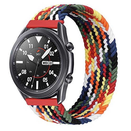 iBazal 22mm Correa Galaxy Watch 46mm Pulsera Nylon Banda Trenzada Lazo Individual Repuesto para Samsung Galaxy Watch 3 45mm/Gear S3 Frontier Classic, Huawei Watch GT/GT 2 46mm - 10 Colorido