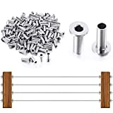 100 Pieces Stainless Steel Protector Sleeves, Cable Railing T316 Protector Sleeves, Suit 1/8, 5/32, 3/16 Inch Wire Rope, Rust Proof Decking Handed Handrail for Stair, Metal Post, Balustrade