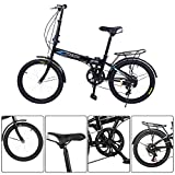 Folding Bike for Adults, 20Inch Wheels 7 Speed City Folding Mini Compact Bike, Bicycle Urban Commuter with Back Rack, Mountain Bicycle for Adult Teens (from US. Black, Folded: 33' L x 24' H x 13' W)