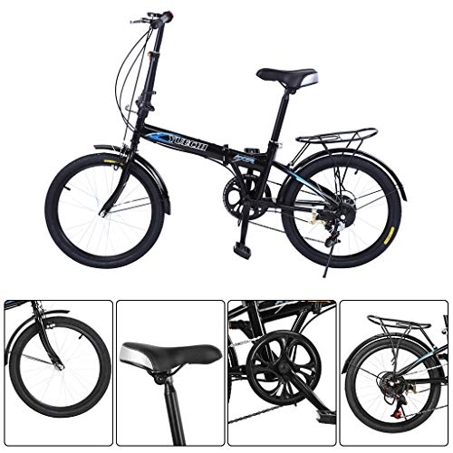 """Folding Bike for Adults, 20Inch Wheels 7 Speed City Folding Mini Compact Bike, Bicycle Urban Commuter with Back Rack, Mountain Bicycle for Adult Teens (from US. Black, Folded: 33"""" L x 24"""" H x 13"""" W)"""