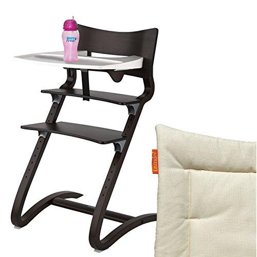 Leander Hochstuhl Walnuss Komplettpaket mit Sicherheitsbügel, Tisch, BFree-Trinkbecher und Sitzkissen Vanilla