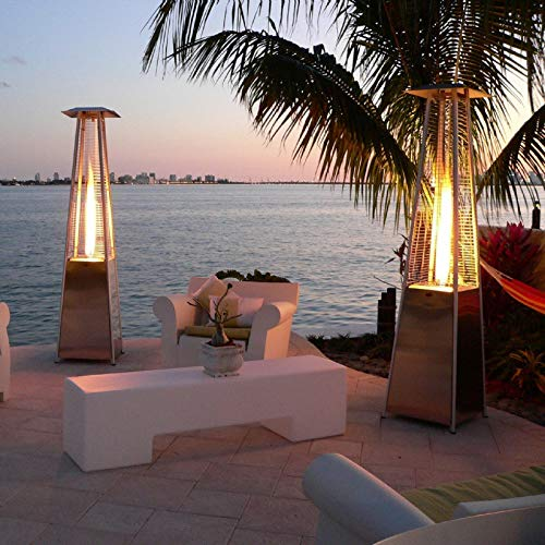 Sanyyanlsy Outdoors Portable Patio Heater, Propane Table Top Pyramid Glass Tube Patio Heater, Stainless Steel Courtyard Propane Heater Quartz Glass Tube Quadrilateral Gas Heater US Stock,Bronze