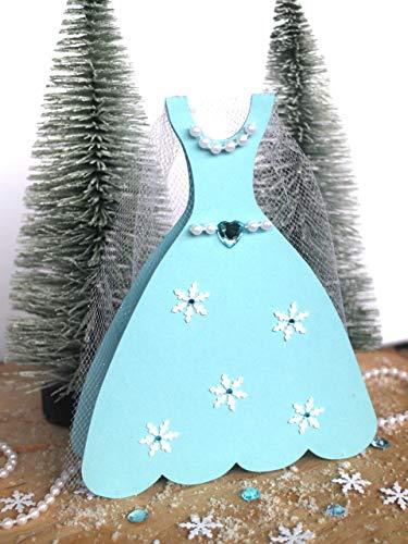 Eiskönigin Einladungskarten Kindergeburtstag - Eiskönigin Geburtstag - Eiskönigin Kleid - 4 handmade Einladungskarten
