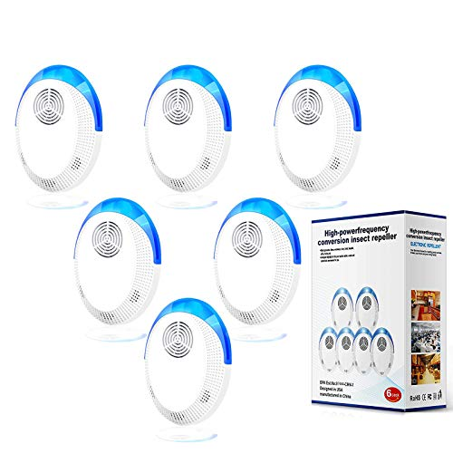 Ultrasonic Pest Repellent(6 Pack), 2020 Pest Control Ultrasonic Repeller, Electronic Repellant - Bug Repellent for Mice, Ant, Mosquito, Spider, Roach, Rat, Flea, Fly