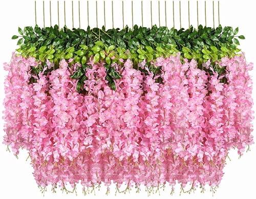 Kesio 12 piezas de flores artificiales de glicina colgantes de glicina flores...