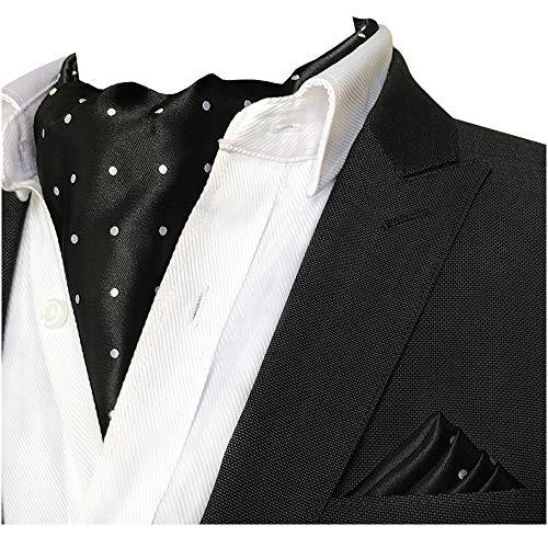 CANGRON Männer Schwarz Weiß Tupfen Ascot Krawatte Krawatte & Einstecktuch Set DLJB2HB