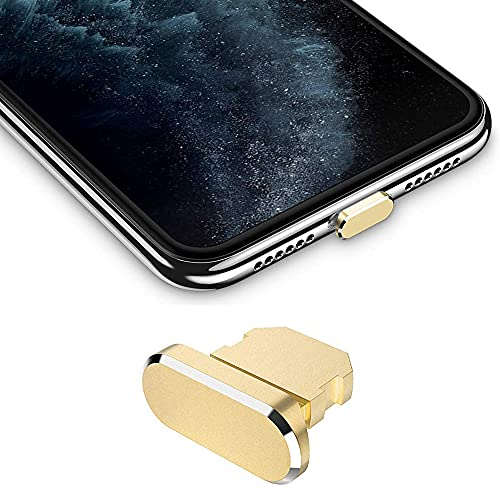 Best Shopper - Metal Stopper Anti Dust Plug Charging Port Cap for All iPhone X XR XS Max 8+ 7 6S+ 11 12 Pro Max iPhones Only - Gold