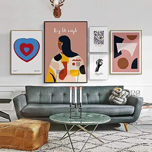 MXK 5 uds, Póster de ilustración inspiradora de la Vida, Lienzo Impreso, Pintura artística, Cuadros de Pared para el Fondo del sofá, decoración del hogar, sin Marco