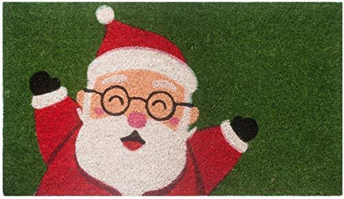 Zerbino Natale da Esterno in Cocco con Base in PVC Dipinto a Mano Raffigurante Babbo Natale 70X40X2 cm. Facile da Pulire e Ultraresistente