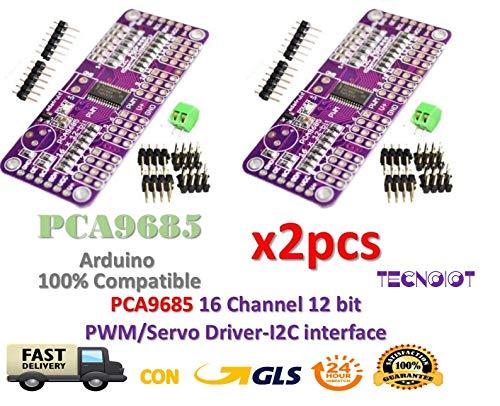 TECNOIOT 2pcs PCA9685 16 Channel 12 bit PWM Servo Driver I2C Interface |2 stücke PCA9685 16 Kanal 12 bit PWM Servo Driver I2C Schnittstelle
