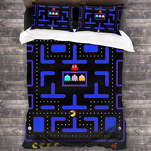 Pac-Man 3-Piece Bedding Set 86'X70' Comforter Quilt Set Twin Size Soft Duvet Cover Set with 1 Quilt Cover 2 Pillow Shams for Teens Boys Girls