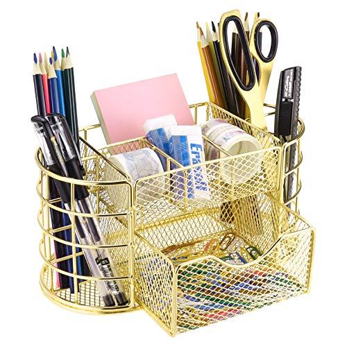 LEORISO Organizador de escritorio multifuncional de metal, accesorios de escritorio con cajón, organizador de escritorio con bandeja para cartas, bolígrafos, papelería y cosméticos, color dorado