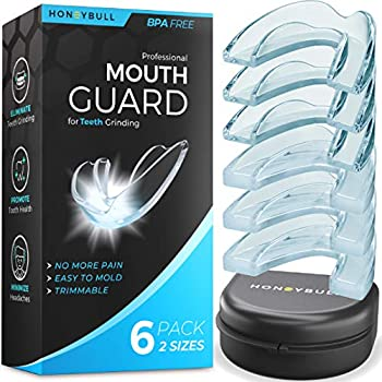 HONEYBULL Mouth Guard for Grinding Teeth [6 Pack] Comes in 2 Sizes for Light and Heavy Grinding | Comfortable Custom Mold for Clenching at Night Bruxism Whitening Tray & Guard