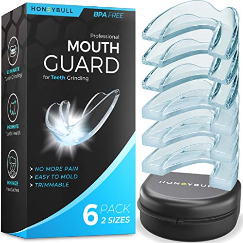 HONEYBULL Mouth Guard for Grinding Teeth [6 Pack] Comes in 2 Sizes for Light and Heavy Grinding | Comfortable Custom Mold for Clenching at Night, Bruxism, Whitening Tray & Guard