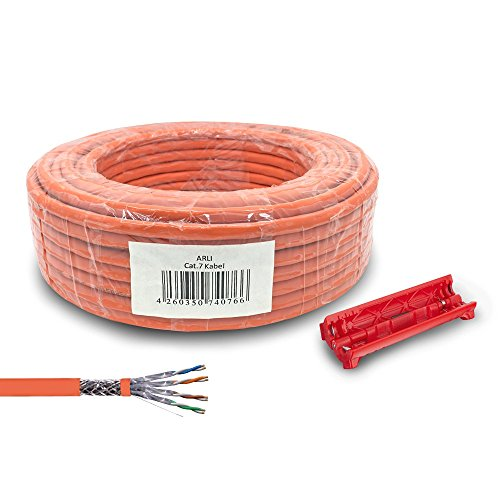 ARLI Cat7 Verlegekabel 100 m Netzwerkkabel inkl. Abisoliermesser CAT.7 LAN Halogenfrei Installationskabel SFTP S/FTP CAT7 PIMF Kabel Netzwerk Verkabelung Datenkabel AWG23/1 geschirmt Kupfer 100m