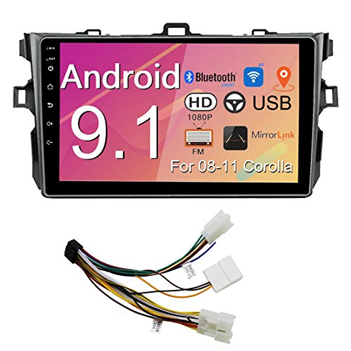 Binize Android 9.1 Car Stereo Radio,9 Inch Touch Screen Multimedia Player,GPS Navigation Receiver,FM,Mirror Link,Bluetooth,Support reversing image Input(for Toyota Corolla 08-11) (Corolla2GRAM+16GROM)