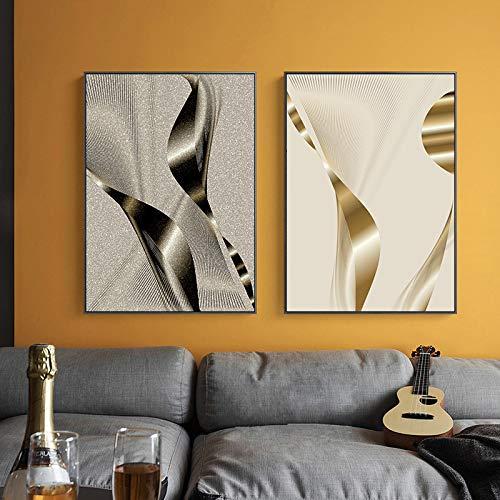 OKYQZ Lienzo Creativo Arte de la Pared Plata Oro Abstracto geométrico Patchwork Cuadro Moderno Póster para la decoración del Hotel de la Oficina de la habitación (60x80cm) X3 Sin Marco