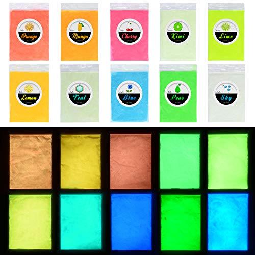 Pigmento di Resina Epossidica Fluorescente - Polvere Fluorescente Resina per Resin, Slime, Chiodo - Glow in The Dark Pigment Luminescente Colorati per Nail,Pittura, Acrilica e Artigianato - 10 Colori