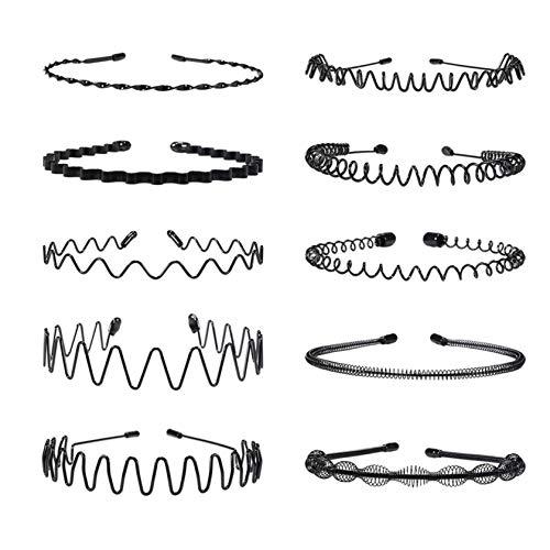 10 diademas de metal para hombres y mujeres, unisex, color negro, ondulado, diadema elástica multiestilo, antideslizante, deportes al aire libre, moda yoga
