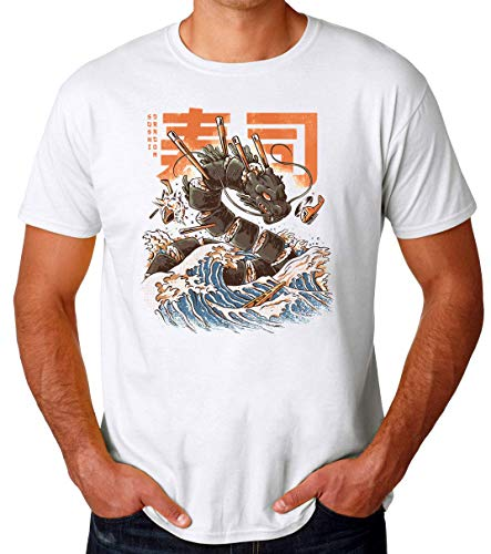 BakoIsland Great Sushi Dragon Artwork Camiseta para Hombres
