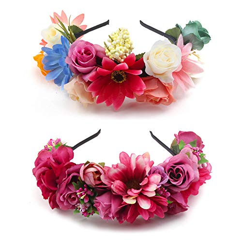 OOSAKU Diadema corona de flores de niñas Novia floral guirnalda de pelo Casco Festival de la boda Paquete de 2