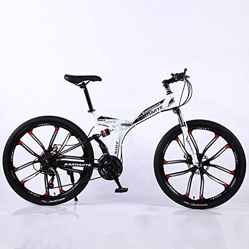 HUWAI Speed Gears Folding Outroad Bike Mountain Bike 26 Inches10Spoke Wheels Dual Suspension Folding Bike 21 Speed MTB,Blanco