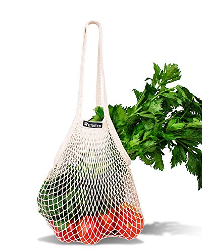 NetNeed Cotton Reusable Net Shopping Tote String Bag Organizer for Grocery Shopping & Beach, Storage, Fruit, Vegetable and Toys -Lightweight & Sturdy Mesh Produce bag(15 x 19