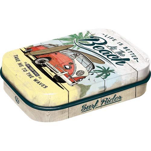 Nostalgic-Art 81384 VW Bulli - Beach | Pillen-Dose | Bonbon-Box | Metall | gefüllt mit Pfefferminz-Dragees