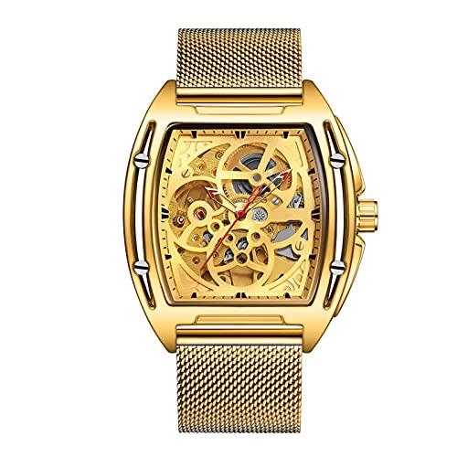 EPHNDX Casual Reloj Impermeable Reloj mecánico automático Moda Moda de Acero Inoxidable Skeleton Watch Automatic Winding Ocio Luxury Business Classic Regional (Color : Gold)