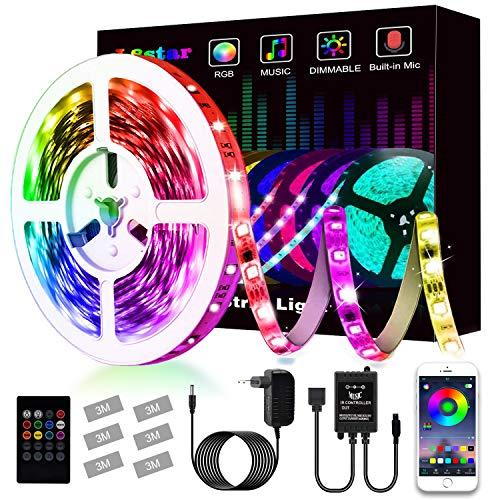 Striscia Led, L8star Led Striscia 5m Strisce Luminose con Controller Bluetooth Sincronizza con la Musica Adatto per TV, Camera da letto, Decorazioni per feste e per la casa