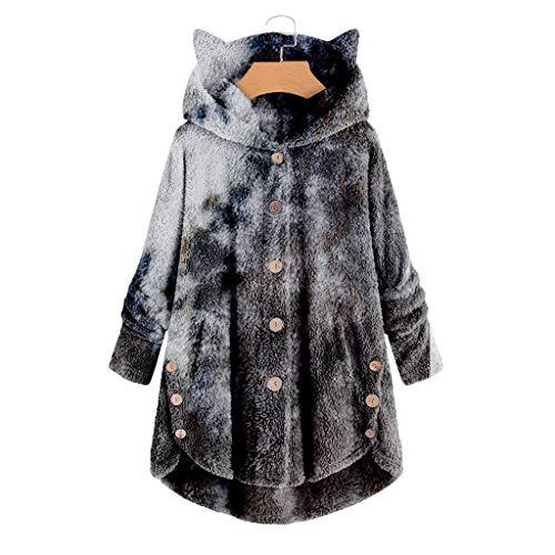 Damen Teddy Fleece Mantel Top Outwear, Tie Dye Jacken mit Katzenohren Kapuzen, Button Plüsch Cardigan Pullover Casual Faux Shearling Sweater