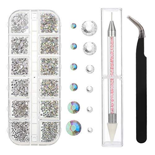 SUI-lim 1500 Stück AB Crystal Nail Art Strasssteine und Clear Crystal Strasssteine, 6 Größen, mit Pick Up Pinzette und Strass Picker Dotting Pen, für Nägel und Gesicht