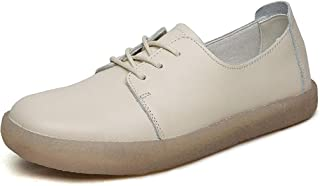 Women's Casual Shoes Loafers & Slip-Ons Leather Deck Shoes Shallow Walking Shoes Driving Shoes White Beige,Beige,38