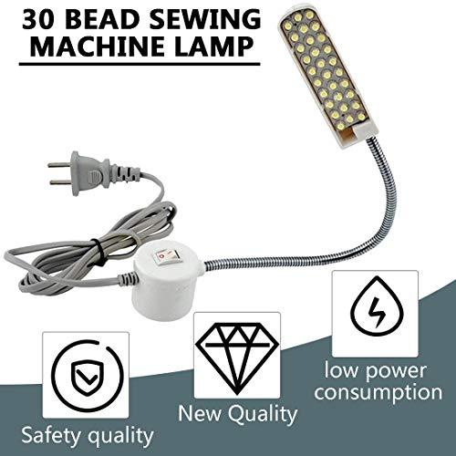 Formulauff Super Bright 30 lámpara de Perlas, Costura, máquina de Ropa, luz de recepción, lámpara de Trabajo, lámpara de Accesorios de máquina de Coser, Color Blanco