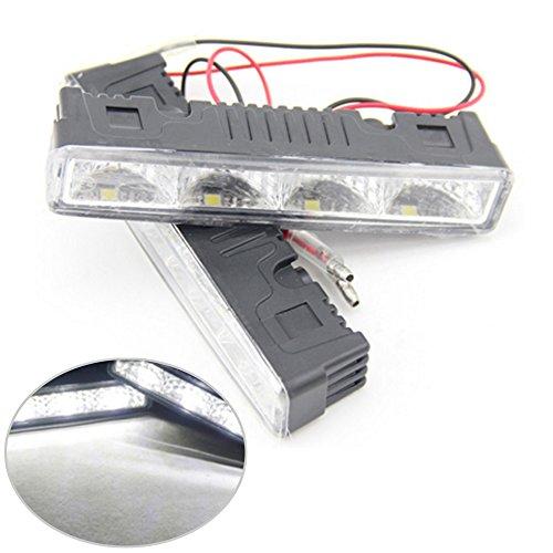 2 x 4 LED Feux de Jour Automotive d'éclairage de voiture lumière du jour 4 W 12 V