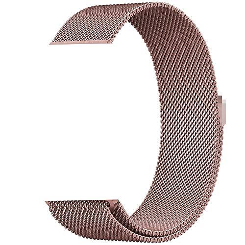La correa milanesa es adecuada para iWatch, pulsera de repuesto ajustable con anillo de acero inoxidable, compatible con la pulsera iWatch serie 6/5/4/3/2/1, con sello magnético ( Color : Oro rosa )