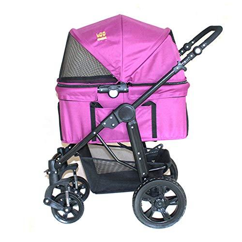 BTIR kinderwagen voor huisdieren (reisdrager +autostoel+kinderwagen) met losse drager/pompvrije rubberen banden/aluminium frame voor middelgrote en kleine huisdieren, roze