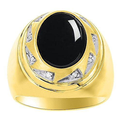 Para hombre Onyx & Diamond Anillo Plata de Ley o plata chapado en oro amarillo