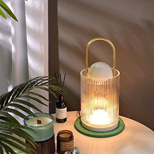 QLIGHA Lámpara De Fusión De Cera De Aromaterapia De Vidrio, Lámpara Eléctrica para Calentar Velas, Atenuación Moderna, Ayuda para Dormir, Lámpara De Noche para Dormitorio, Iluminación Decorativa