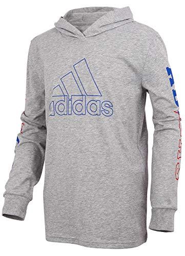 adidas Boys' Big Long Sleeve Hooded Logo T-Shirt (Medium, Medium Grey Heather/Blue)