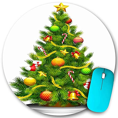 Round Mouse pad Non-Slip Rubber,December Decorated Christmas New Tree Snowflake White Seasonal Garland Holidays Design Ribbon Star,Waterproof Durable Office Desktops Personality 7.9'x7.9'