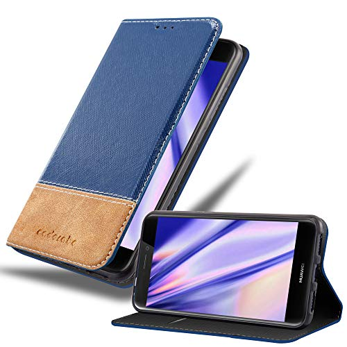 Cadorabo Funda Libro para Huawei P8 Lite 2017 en Azul MARRÓN - Cubierta Proteccíon con Cierre Magnético, Tarjetero y Función de Suporte - Etui Case Cover Carcasa