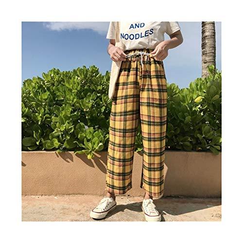 YUANYUAN520 Pantalones Anchos Vintage Amarillo Plaid Pantalones De Verano Mujeres Mujeres Casual Trazado De Tobillo Longitud Flojo Pantalones De Pierna Ancha Suelta (Color : Yellow, Size : One Size)