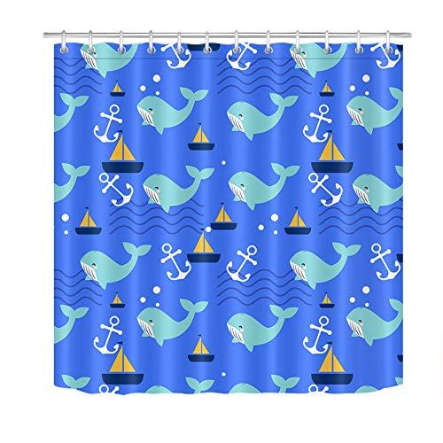 ZZZdz Ancora voor Vela Dolphin douchegordijn, 180 x 180 cm, 12 haken Gratuiti. Decoraties voor het huis, 3D-print, HD-druk, gemakkelijk te reinigen, accessoires voor de badkamer.