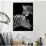 QWESFX Tiere malen Zebra Löwe Elefant Nashorn Bilder Schwarzweiß Leinwand Poster Wandkunst für Wohnzimmer (Druck ohne Rahmen) B 40x60CM